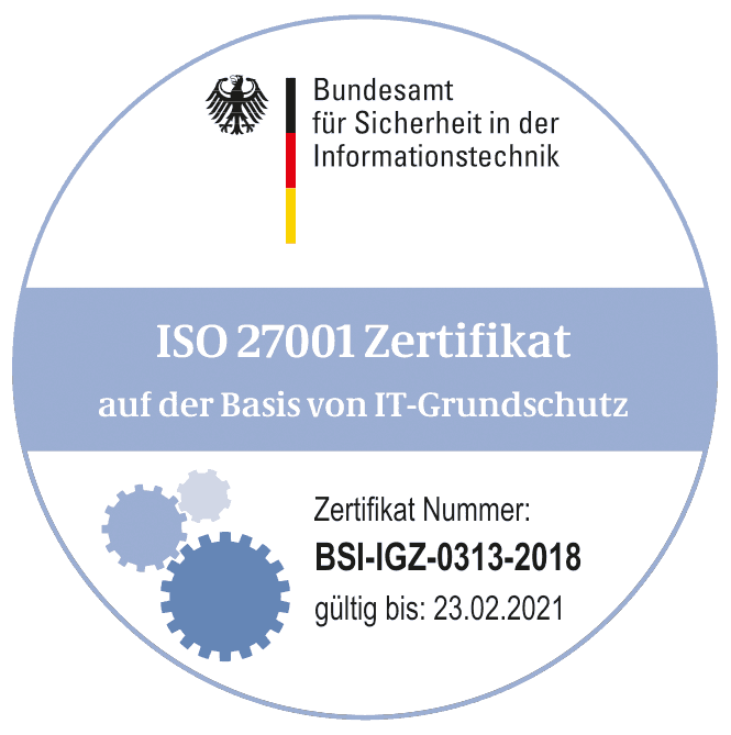 BSI-Zertifikat ISO 27001 Lecos GmbH