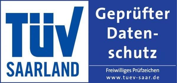 """Prüfsiegel """"Geprüfter Datenschutz"""" TÜV Saarland"""